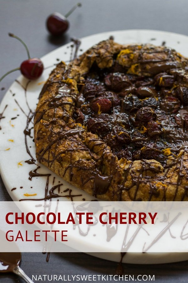 Sinful and decadent, yet super simple to throw together, this Chocolate Cherry Galette is all kinds of awesome. | Naturally Sweet Kitchen | Decadent dessert | Cherry pie | Fruit galette #easydessert #refinedsugarfree