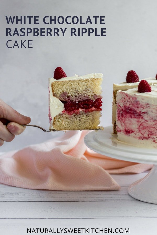 White Chocolate and Raspberry Ripple Cake – a decadent layer cake made with fresh raspberries, homemade raspberry puree, vanilla cake layers, and a generous coating of heritage frosting. | Naturally Sweet Kitchen | Raspberry cake | Raspberry recipes | White chocolate cake #raspberrycake #refinedsugarfree
