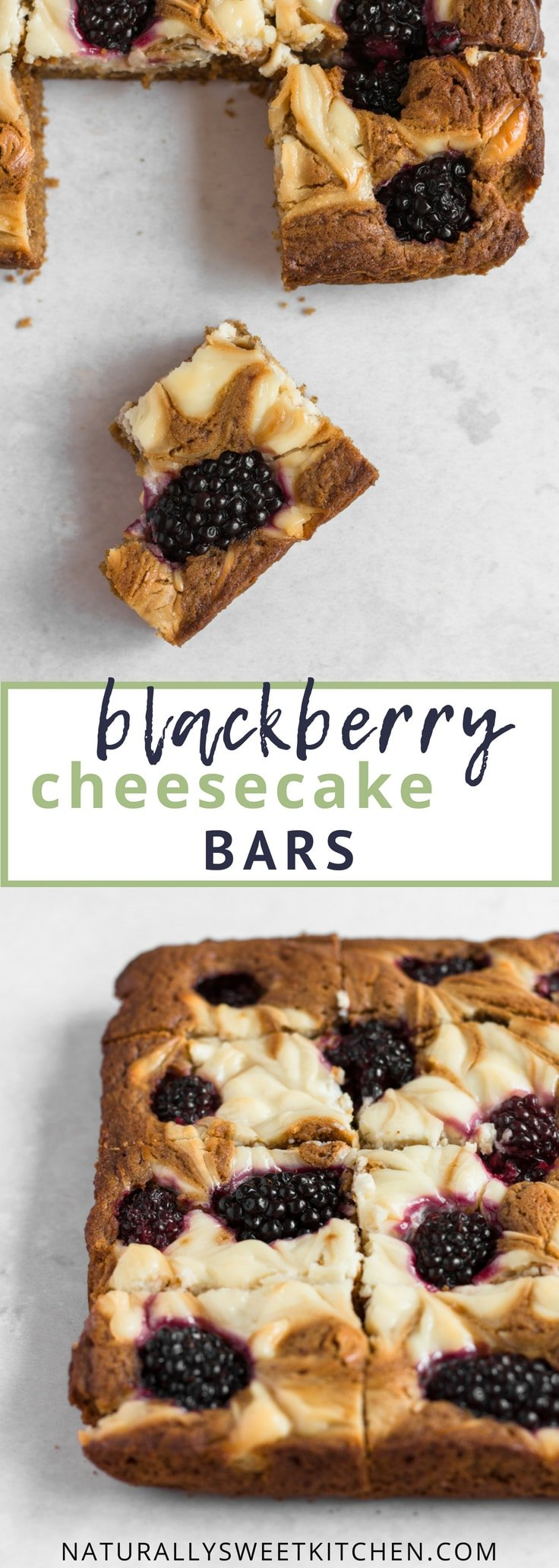 Your new go-to blackberry recipe! A quick and easy recipe for blackberry cheesecake bars that are chewy, delicious and refined sugar free! Get this recipe and more refined sugar free desserts at naturallysweetkitchen.com | Naturally Sweet Kitchen | Refined sugar free desserts | blackberry recipes | Blackberry bars #blackberryrecipe #refinedsugarfree