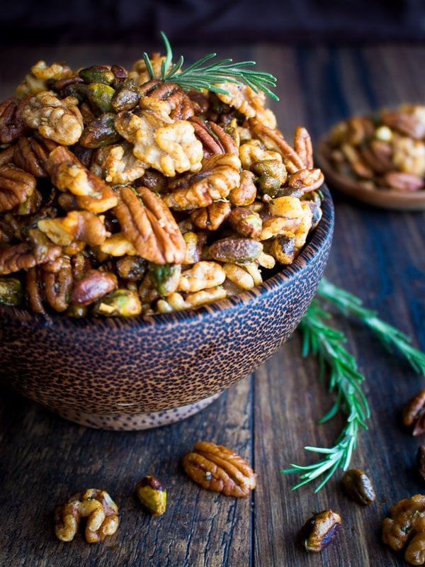 Stove Top Rosemary Party Nuts and 16 other refined sugar free snacks recipes. Perfect for school snacks, post work out snacks, or whenever you need an easy snack! Get the recipe round-up on naturallysweetkitchen.com #schoolsnacks #healthysnacks #naturallysweetkitchen #preworkoutsnacks #refinedsugarfree