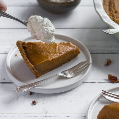 Pumpkin Pie with a Pecan Pretzel Crust