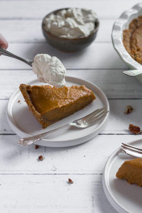 Pumpkin Pie with a Pecan Pretzel Crust