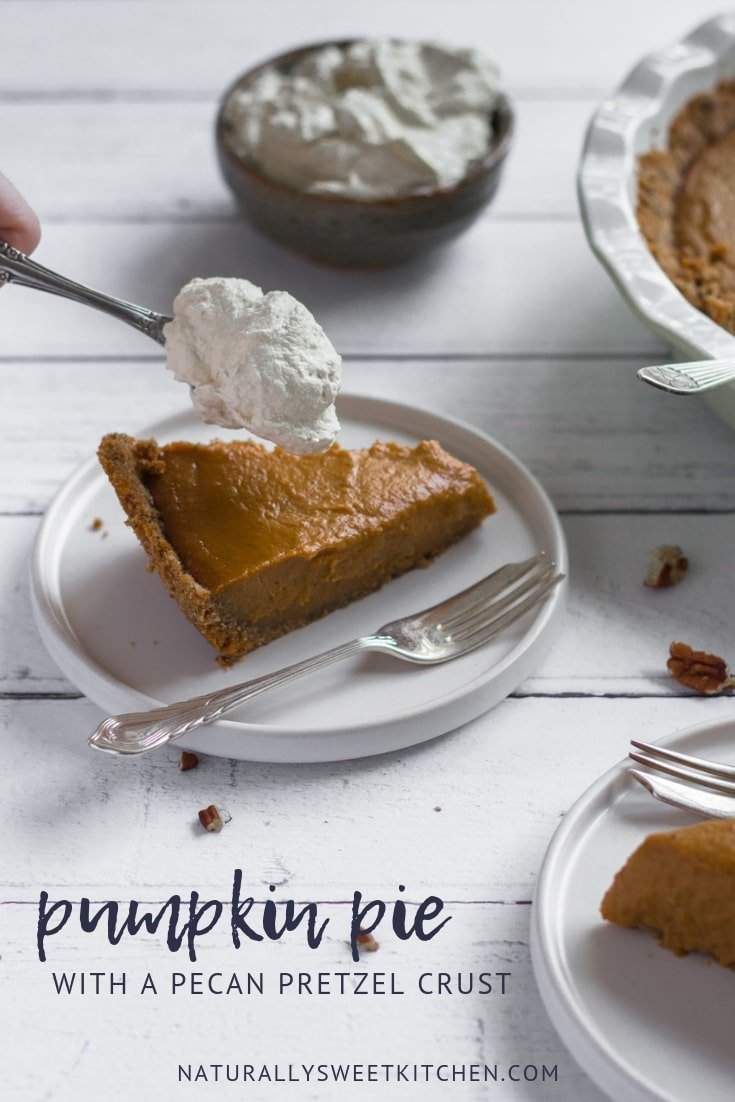Your guests will love the traditional sweet pumpkin pie filling combined with the unconventional salty crunch of the pecan pretzel crust. This easy pumpkin pie recipe is perfect for Thanksgiving dessert. Get the recipe on naturallysweetkitchen.com #pumpkinpie #pumpkinspice #pretzelcrust #madefromscratch #fallrecipes