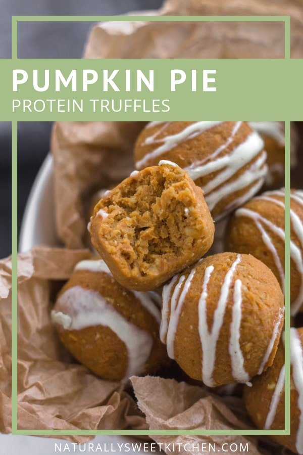 Pumpkin Pie Protein Truffles are the perfect afternoon snack. Sink your teeth into a bite of healthy pumpkin pie drizzled with white chocolate. Refined sugar free and gluten-free. Get the recipe at naturallysweetkitchen.com #naturallysweetkitchen #pumpkinpie #pumpkinspice #energybites #proteinballs #healthysnacks