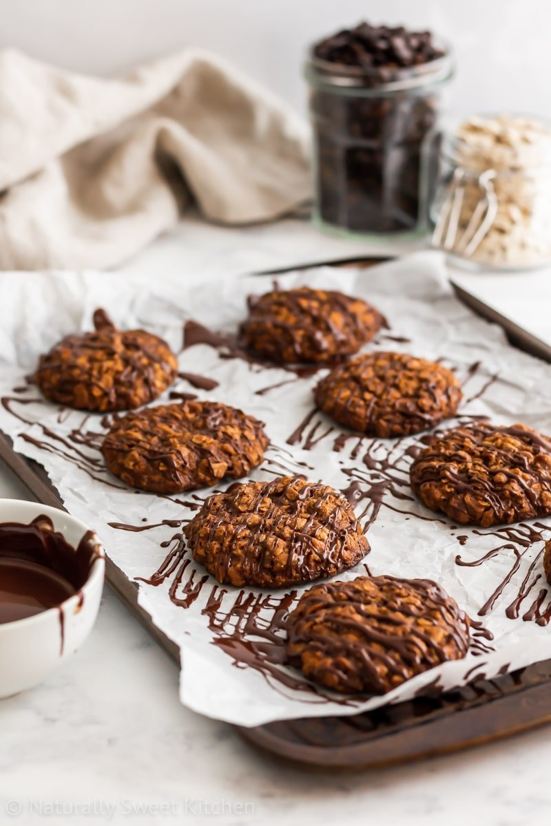 Soft cinnamon and espresso oatmeal cookies with dark chocolate drizzle.