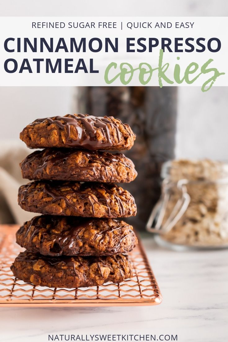 These soft and chewy cinnamon and espresso oatmeal cookies are refined sugar free and pair perfectly with your mid-morning coffee.