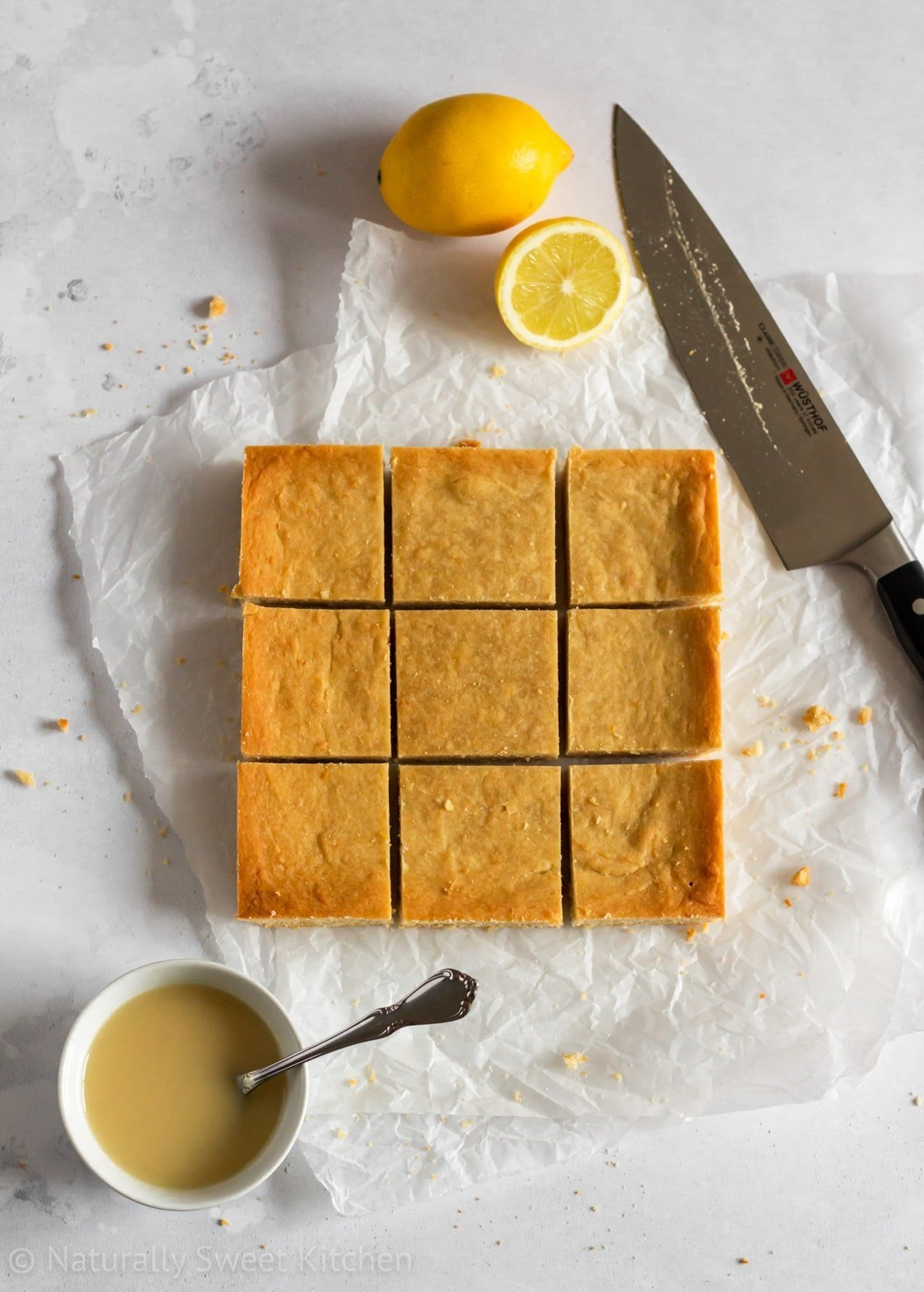 Easy Lemon Shortbread Bars naturally sweetened with honey.