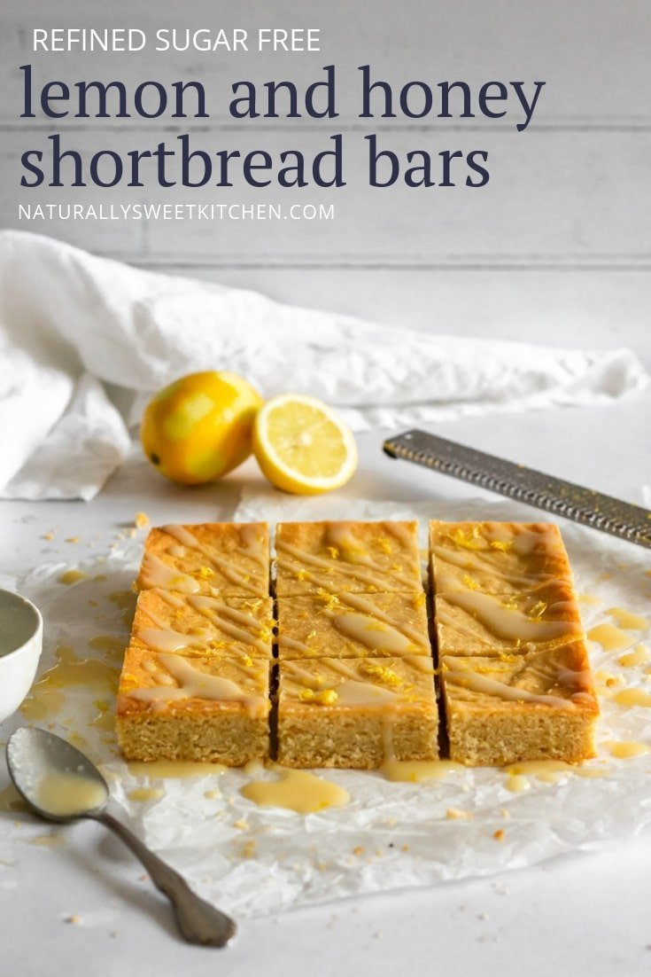 Naturally sweetened Honey and Lemon Shortbread Bars. A chewy lemon dessert made in one bowl.
