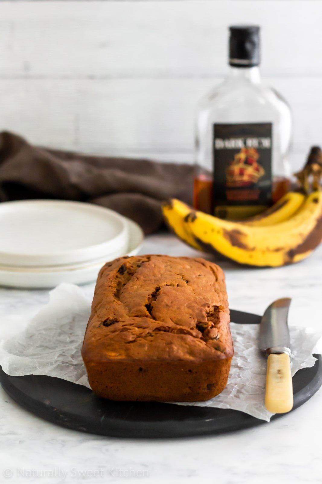 Refined sugar free banana bread infused with rum and raisin flavours.