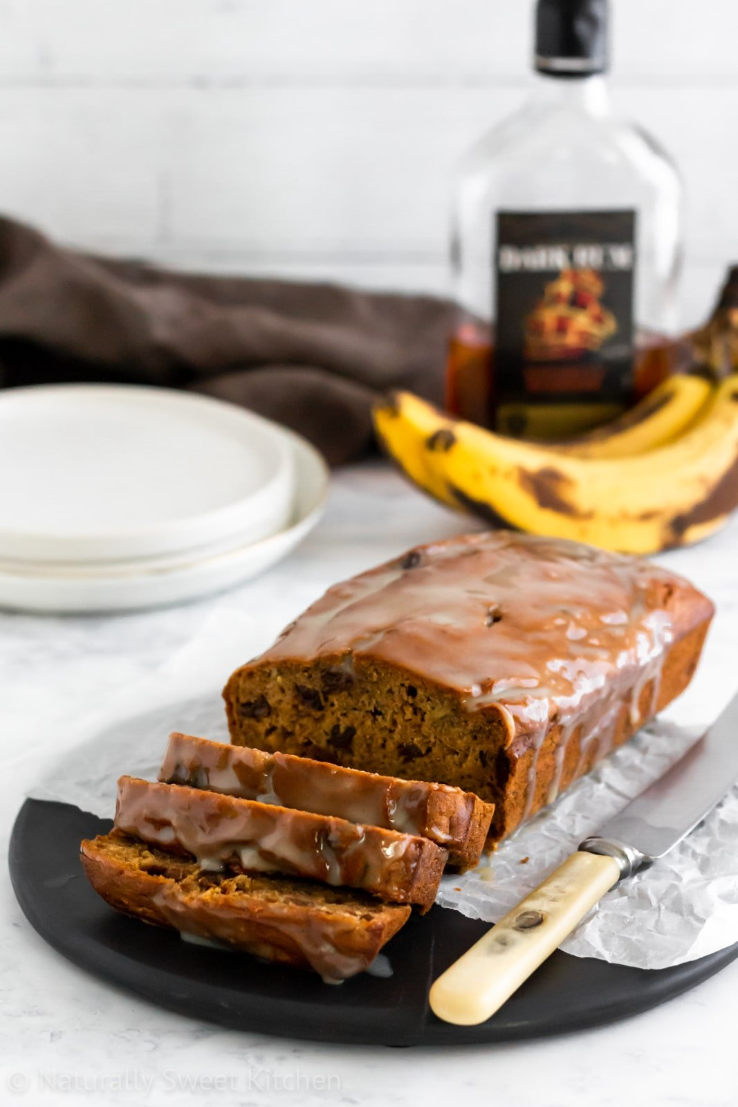 Refined sugar free rum and raisin banana bread.