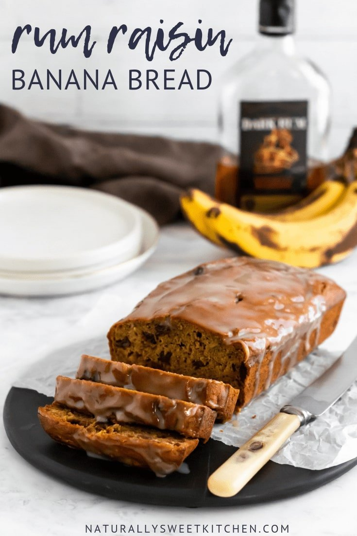 This rum and raisin banana bread is naturally sweetened with fruit and coconut sugar, deliciously moist, and features a sugar-free vanilla rum glaze.