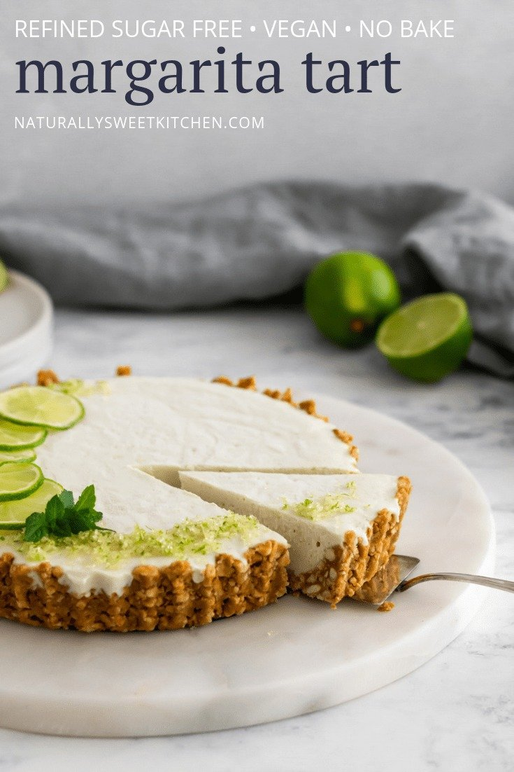 A #nobake margarita tart recipe. #vegan and naturally sweetened with agave.