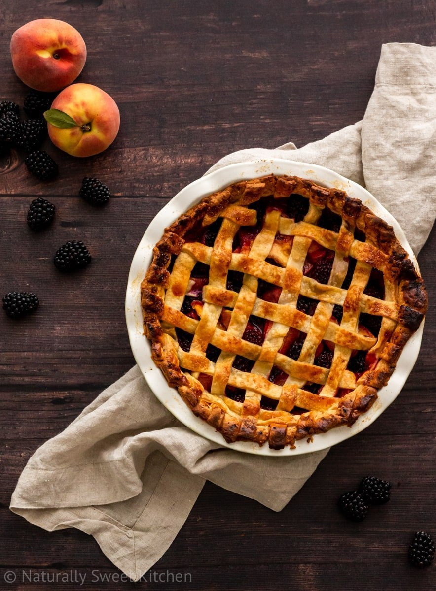 Naturally sweetened with maple syrup, this peach and blackberry pie recipe is the best summer fruit dessert.