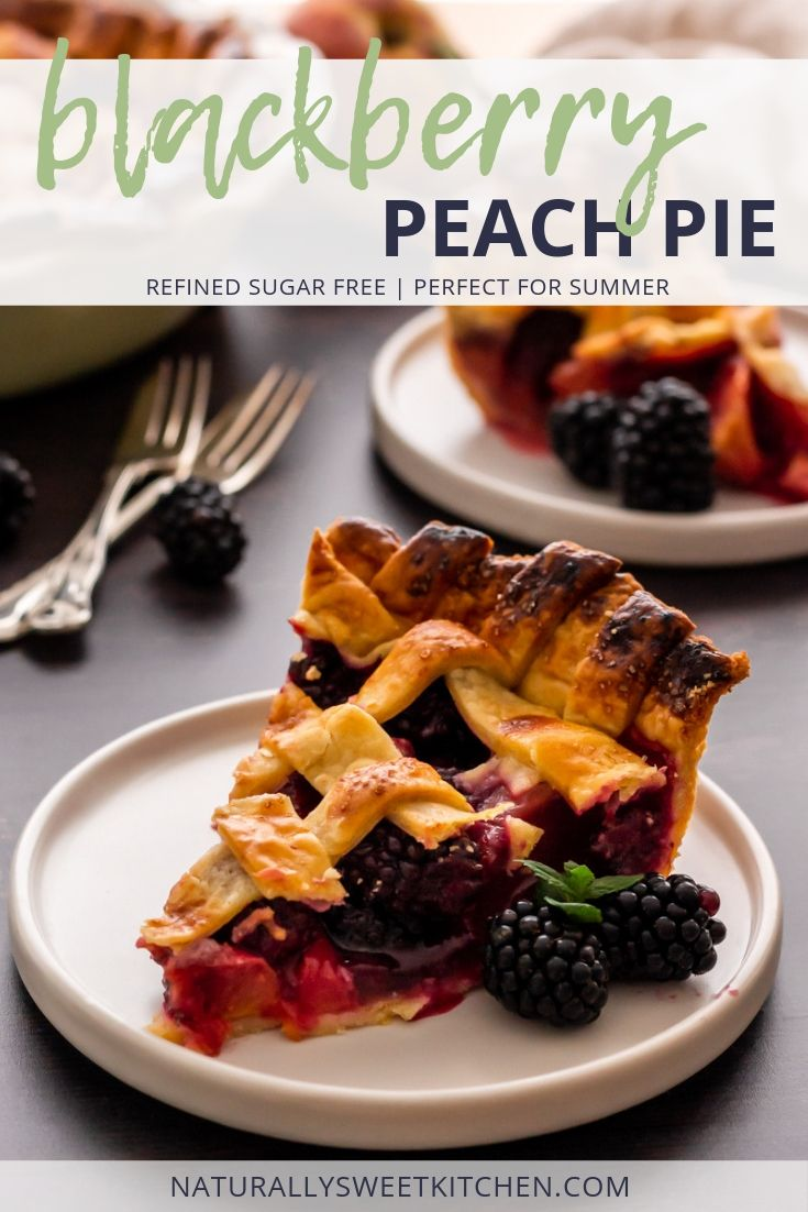 This Blackberry Peach Pie recipe is the perfect summer dessert! Naturally sweetened with maple syrup and featuring ripe peaches, tart blackberries, and a flaky all-butter pie crust. #blackberries #peach #pie #baking