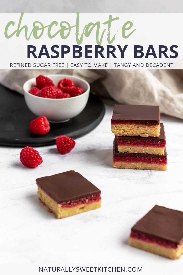 Chocolate Raspberry Bars are perfect for any summer party! An easy recipe made from fresh raspberries and naturally sweetened. #baking #raspberry #chocolate #refinedsugarfree