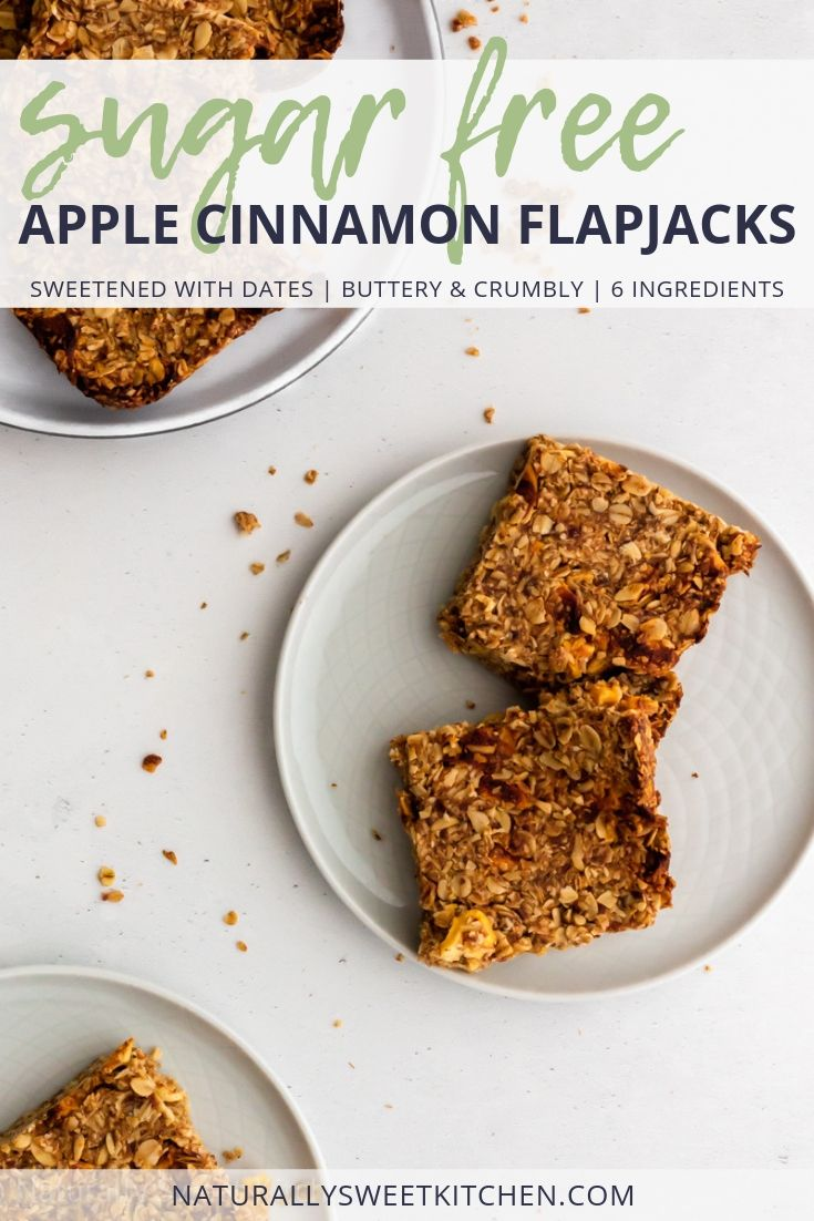 These buttery flapjacks are sweetened with dates and dried apples, making them completely sugar free! Warming notes of cinnamon and a chewy texture will make these your favourite after school snack this fall.