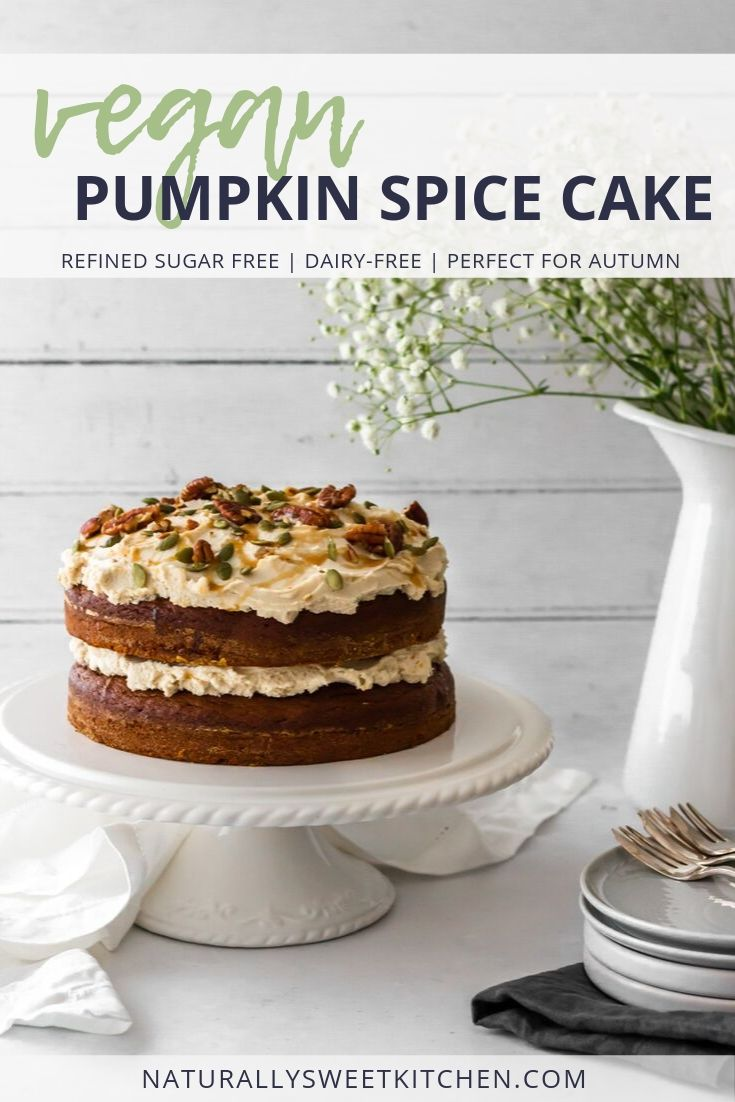 A vegan cake recipe featuring moist layers of pumpkin spice cake, a thick helping of date caramel sauce, and a fluffy dairy-free cashew frosting. Perfect for autumn baking! Get the recipe at naturallysweetkitchen.com. #vegan #baking #cake #pumpkinspice #dairyfree #refinedsugarfree