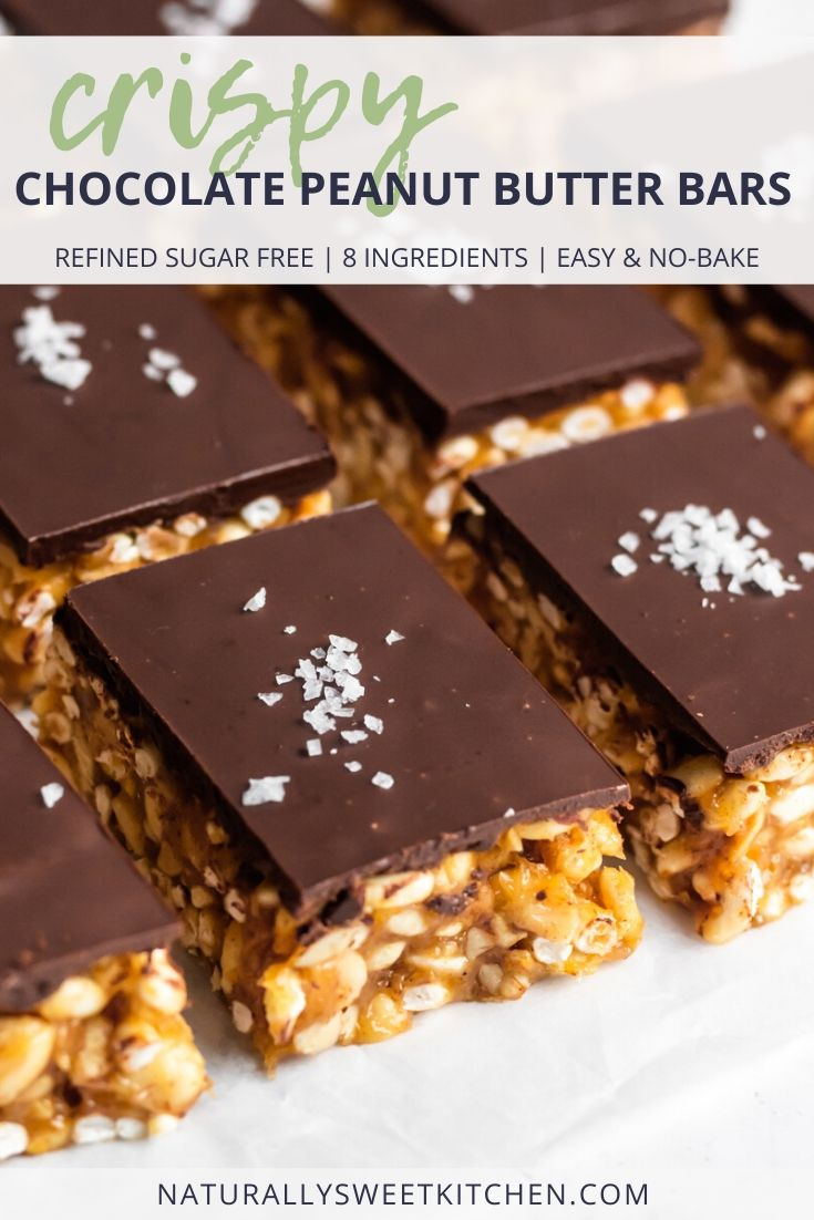 These crispy chocolate peanut butter bars are the perfect addition to your Christmas cookie table! Refined sugar free and packed with peanut butter chocolate flavour, these will be a new family favourite recipe! Get the recipe on naturallysweetkitchen.com #peanutbutter #chocolate #nobake #refinedsugarfree #easyrecipe