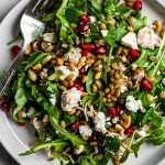 a plate of warm pomegranate chicken salad with feta, grains, and a balsamic dressing
