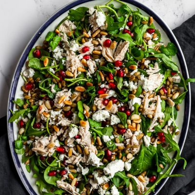 Warm Pomegranate Chicken Salad with Grains & Feta