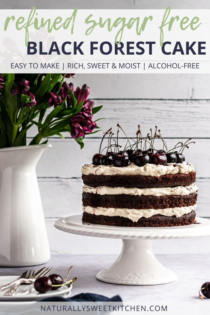 This easy Black Forest Cake recipe is naturally sweetened with coconut sugar and agave nectar. It's richly chocolatey, moist, and completely alcohol-free, so perfect for the whole family! Get the recipe at naturallysweetkitchen.com
