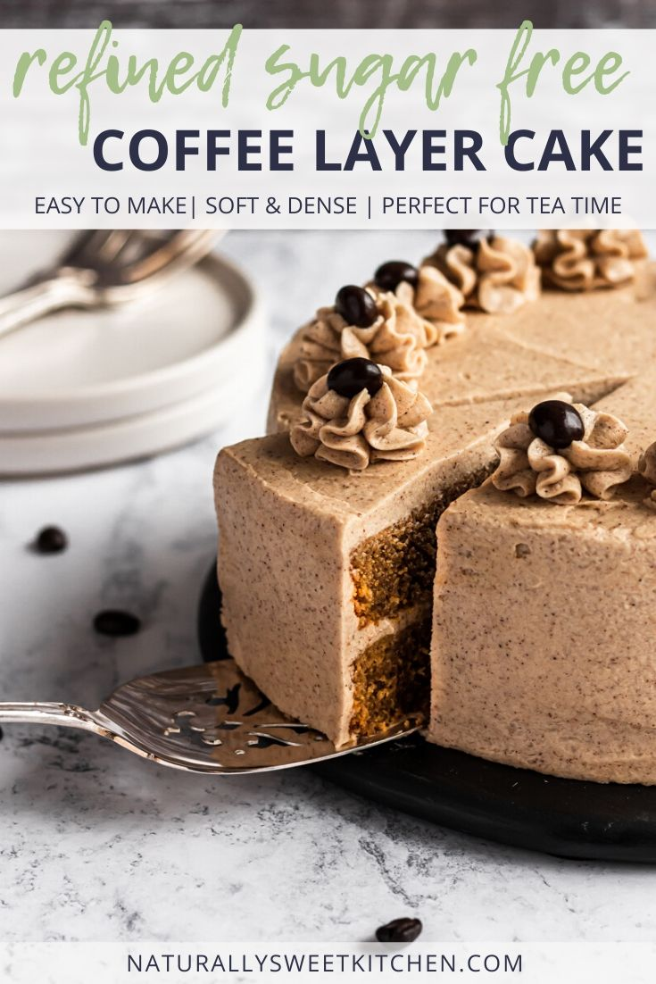 An easy coffee cake recipe that turns out a soft and dense cake perfect for afternoon tea! Naturally sweetened with coconut sugar and maple syrup, this cake is refined sugar free! Get the recipe at naturallysweetkitchen.com