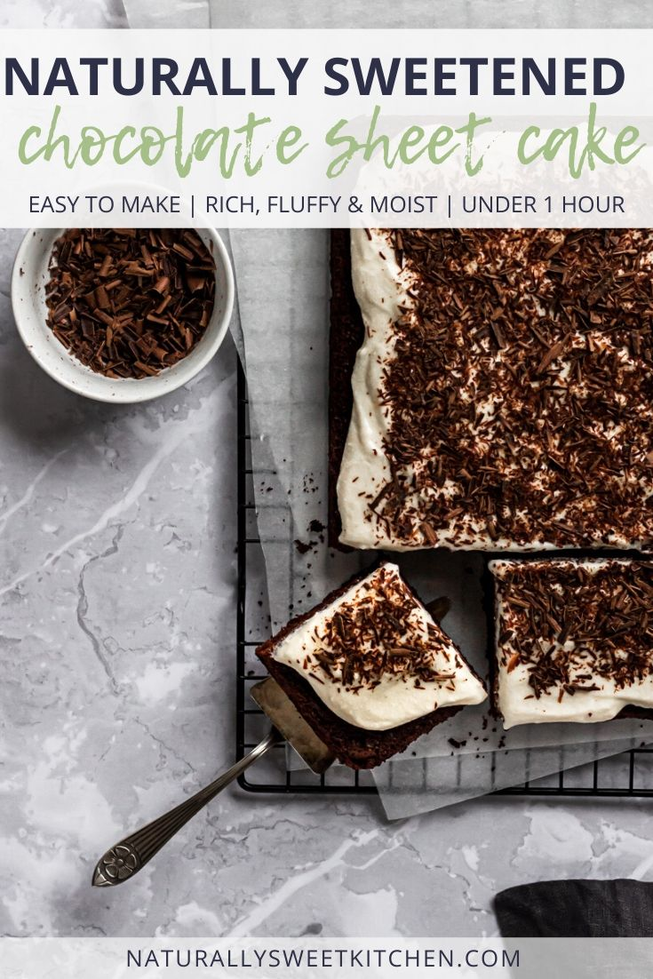 This quick and easy chocolate sheet cake is naturally sweetened with coconut sugar and paired with a refined sugar free cream cheese frosting. Get the recipe on naturallysweetkitchen.com.