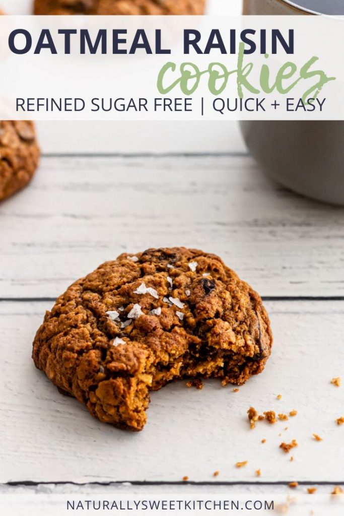 These refined sugar free oatmeal raisin cookies are a texture lovers dream! These cookies are soft and chewy with crispy edges, packed with plump raisins, and flavoured with a hint of nutmeg. The perfect coffee break treat! Get the full recipe on naturallysweetkitchen.com