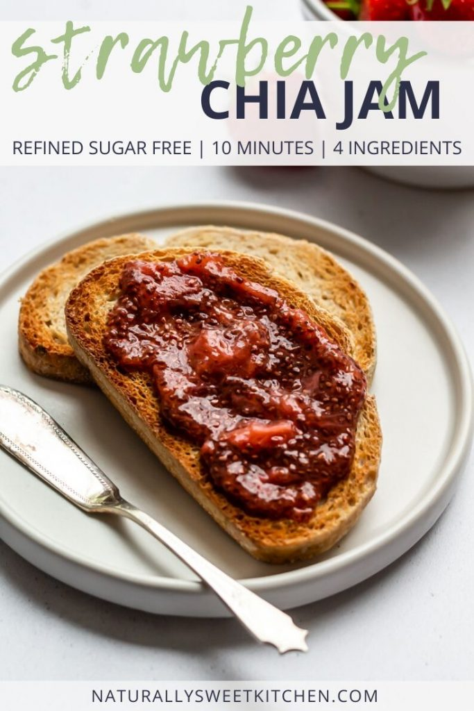 This refined sugar free Strawberry Chia Jam is a healthy swap for store-bought jam. Made in 10 minutes from 4 ingredients, this is the easiest jam recipe ever! Get the full recipe on naturallysweetkitchen.com