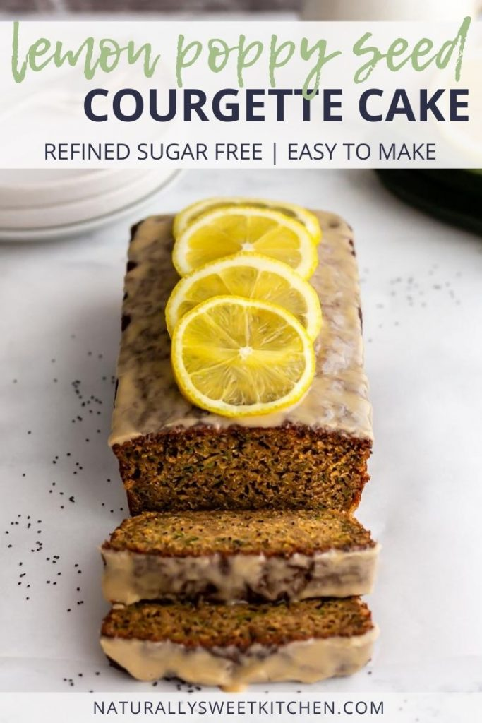 This Lemon Poppy Seed Courgette Cake is completely naturally sweetened and made with simple ingredients. This is an easy loaf cake to make to celebrate summer courgettes. Topped with a tangy refined sugar free lemon glaze! Get the recipe on naturallysweetkitchen.com.