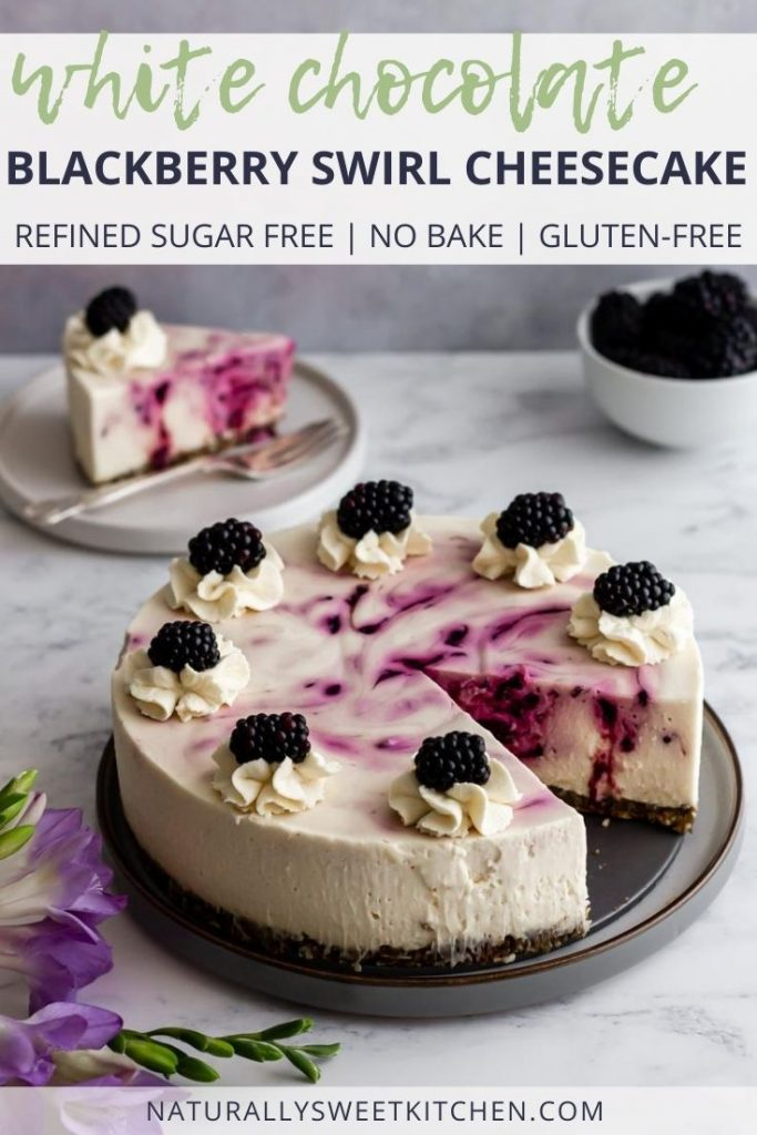 This decadent no bake white chocolate cheesecake is swirled with homemade blackberry jam and set on top of a crunchy pistachio almond crust. Light, rich and naturally sweetened with agave syrup, this no bake cheesecake is an easy summer dessert you can feel good about eating. Get the full recipe on naturallysweetkitchen.com via @naturallysweetkitchen
