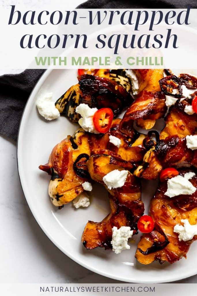 These maple glazed Bacon-Wrapped Acorn Squash slices pair perfectly with a Sunday roast and are a great low-carb swap for pigs-in-blanket. Get the full recipe and other pumpkin recipe on naturallysweetkitchen.com via @naturallysweetkitchen