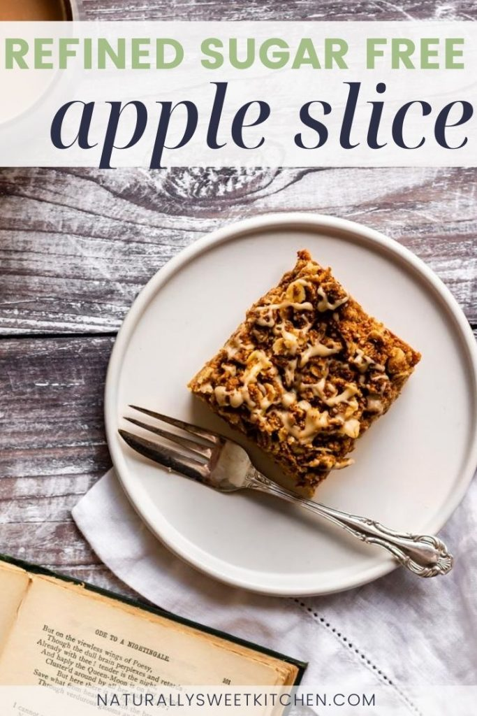This refined sugar free apple slice recipe is perfect to kick of your fall baking! It features a honey-sweetened buttery base, a layer of cinnamon apples, and a crisp crumble topping. Grab the full recipe on naturallysweetkitchen.com via @naturallysweetkitchen