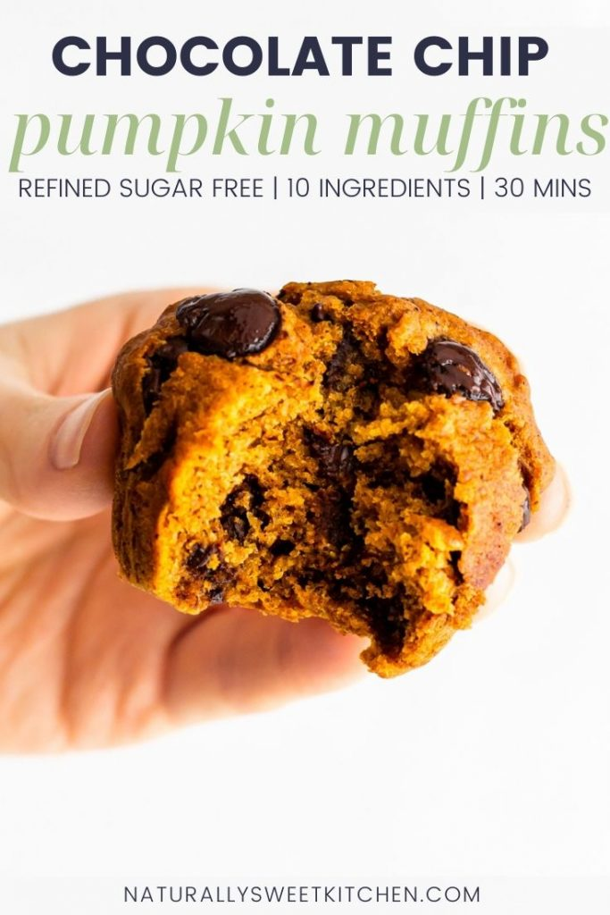 These fluffy pumpkin chocolate chip muffins are lightly spiced with pumpkin pie spice and sweetened only with maple syrup. Perfect for a quick breakfast or afternoon tea in the autumn. Grab the full recipe and other refined sugar free pumpkin desserts on naturallysweetkitchen.com via @naturallysweetkitchen