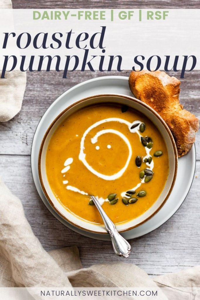This easy roasted pumpkin soup recipe is completely dairy free, gluten free, and refined sugar free. It's packed with robust flavour and serves two hearty bowls. Get the full recipe on naturallysweetkitchen.com via @naturallysweet_kitchen