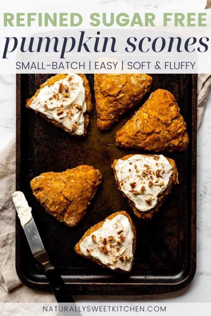 This small batch pumpkin scones recipe is completely refined sugar free and made with real pumpkin puree. Enjoy a taste of autumn with one of these maple cream cheese frosted scones and a hot mug of coffee. Grab the full recipe for this sugar free scones recipe on naturallysweetkitchen.com via @naturallysweetkitchen