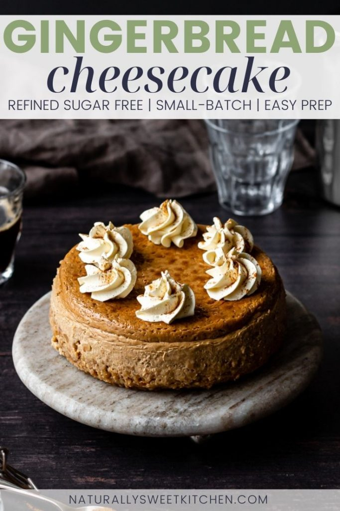 This small-batch, refined sugar free gingerbread cheesecake is the perfect Christmas centrepiece dessert for a smaller family. The cheesecake batter is filled with aromatic, warming gingerbread spices and flavours and is paired with a gluten-free cinnamon hazelnut oat base. Visit naturallysweetkitchen.com for the recipe.