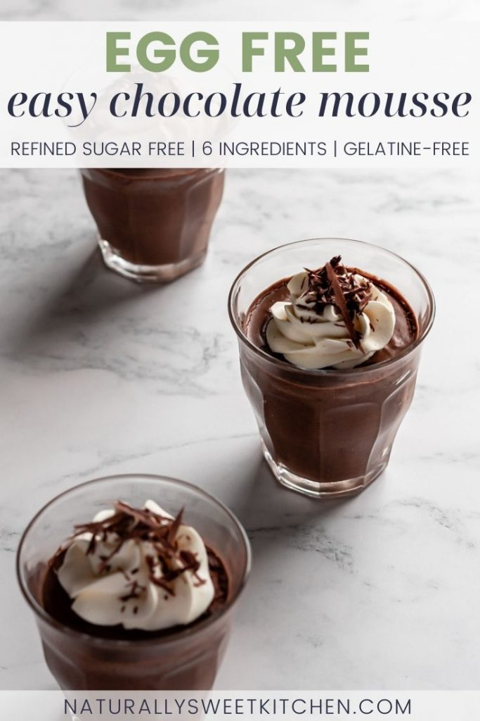 This easy Chocolate Mousse contains no eggs or gelatine; only whipped cream is used to create its light and luscious texture. Deeply rich and chocolatey and spiked with a glug of Bailey's Irish Cream, this simple refined sugar free dessert is the perfect way to end a meal. Get the recipe on naturallysweetkitchen.com
