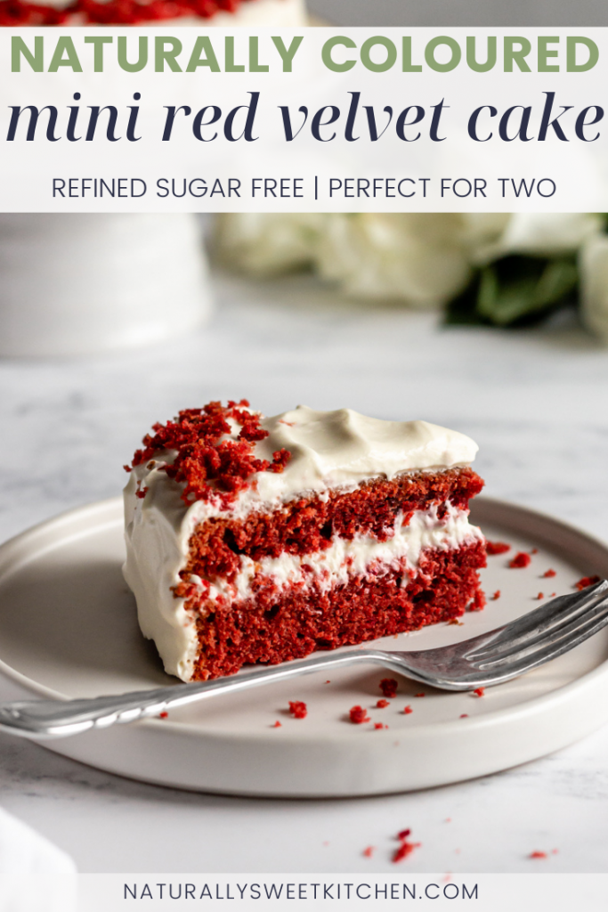 This natural red velvet cake recipe pairs pint-sized naturally dyed beetroot powder cake layers with a light and airy whipped cream cheese frosting. It's the perfect mini cake to share with a loved one! Get the recipe on naturallysweetkitchen.com