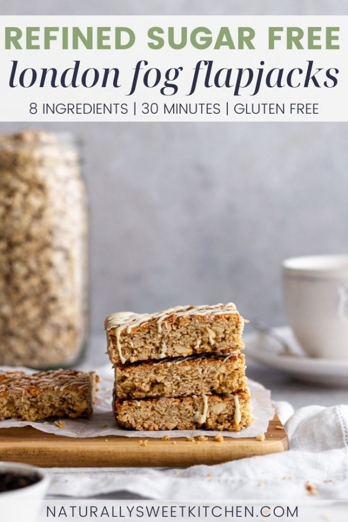 These London Fog Flapjacks are the perfect sweet treat to enjoy with an afternoon cuppa! Infused with the classic flavours of an Earl Grey tea latte – sweet vanilla, floral Earl Grey tea, and a hint of zesty lemon – this delicious honey-sweetened traybake is made in 30 minutes from 8 simple ingredients. Get the recipe on naturallysweetkitchen.com