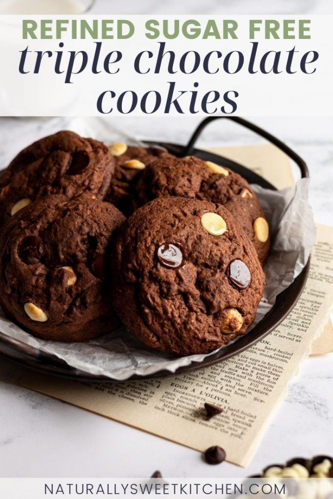 These Triple Chocolate Cookies are the ultimate fudgy chocolate cookie recipe! Easy to make and even easier to eat, these cookies are supremely chewy, thick, and rich. You'd never know they're naturally sweetened with coconut sugar! Get the recipe on naturallysweetkitchen.com