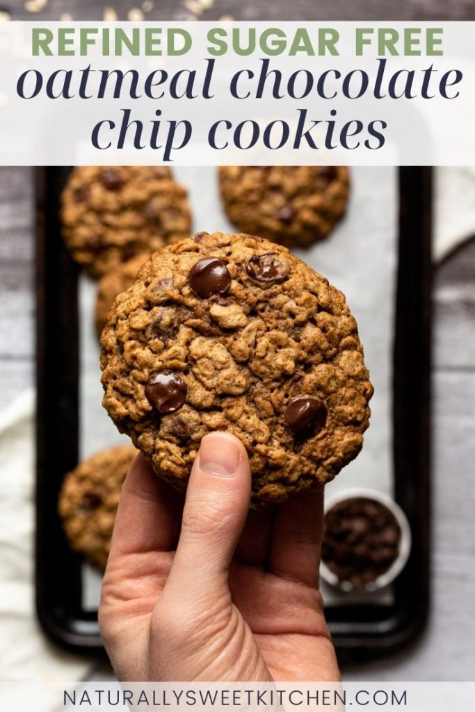 This recipe makes the best oatmeal chocolate chip cookies! These healthier oatmeal cookies have super chewy insides, crispy outer edges and are bursting with rich dark chocolate chips. They're also naturally sweetened with coconut sugar, so they don't contain any brown sugar! Get the recipe on naturallysweetkitchen.com
