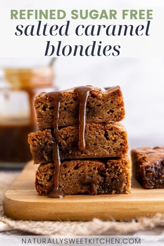 These salted caramel blondies are everything you love about blondie bars with the added benefit of being completely refined sugar free! Gooey, chewy, vanilla-scented blondies marbled with a homemade naturally sweetened salted caramel sauce. They require just 7 ingredients, are easy to make, and kick those sugar cravings to the curb!