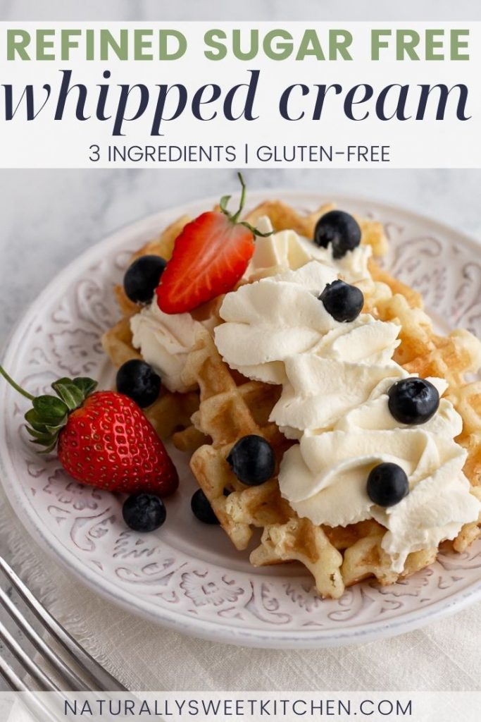 Learn how to make whipped cream at home without any refined sugar! This easy, 3-ingredient recipe is naturally sweetened with agave syrup and pure vanilla extract for a neutral flavour. Whip it up in 10 minutes and use it to top pancakes or pies, to create decadent no-bake desserts, or enjoy it on its own with fresh fruit!