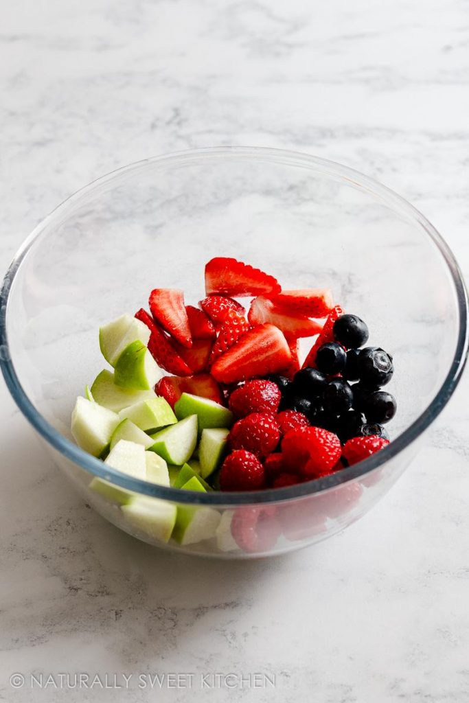 step 2: add all the fruit to a mixing bowl for the filling