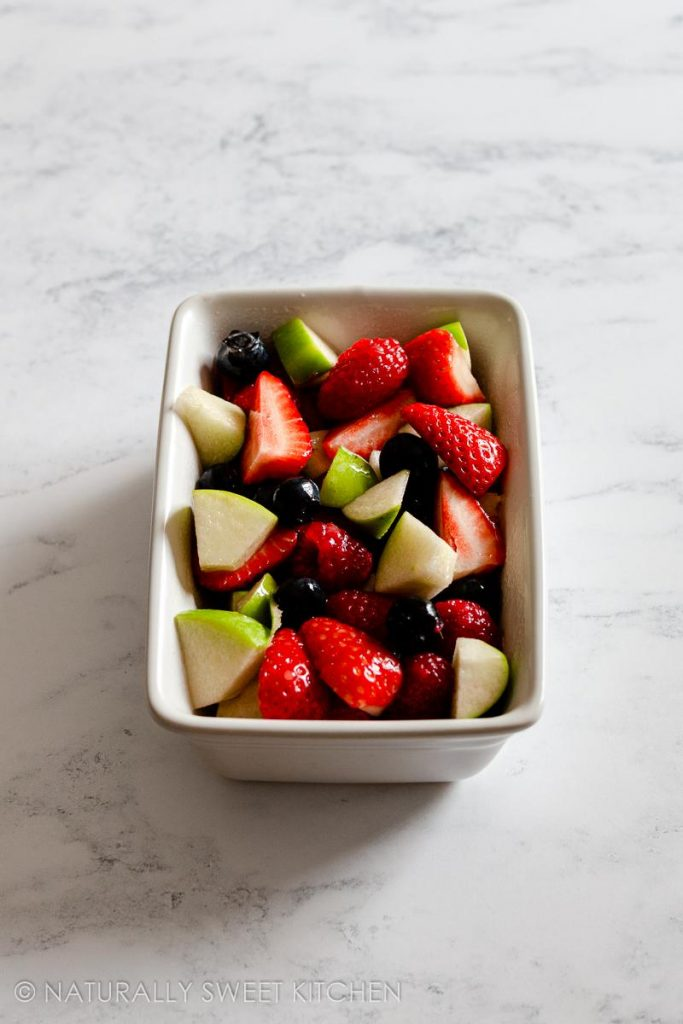 step 2: add the mixed up fruit to the prepared dish